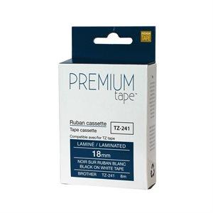 Brother TZ-241 NOIR / BLANC 18mm compatible
