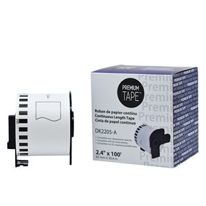 Brother DK-2205-Papier continu BLANC 62mm*30.48m compatible